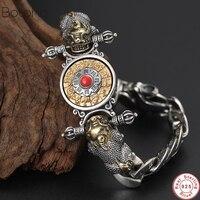 2019 новый браслет Будды 100% Серебро 925 пробы Для мужчин Ваджра зодиака Мантра Лаки Храбрые войска вращающийся браслет ювелирные изделия