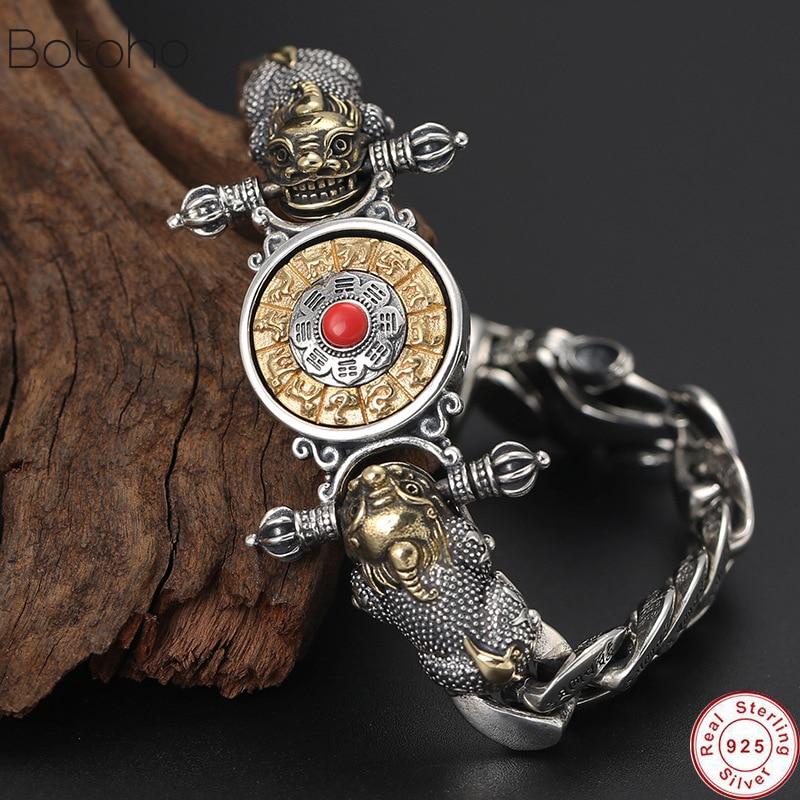 Buddha Bracelet 925 Sterling Silver Men Vajra Zodiac Mantra Lucky Brave Troops Rotatable Bracelet Bangle Jewelry