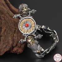 2019 neue Buddha Armband 100% 925 Sterling Silber Männer Vajra Sternzeichen Mantra Glück tapferen truppen Drehbare Armband Armreif Schmuck