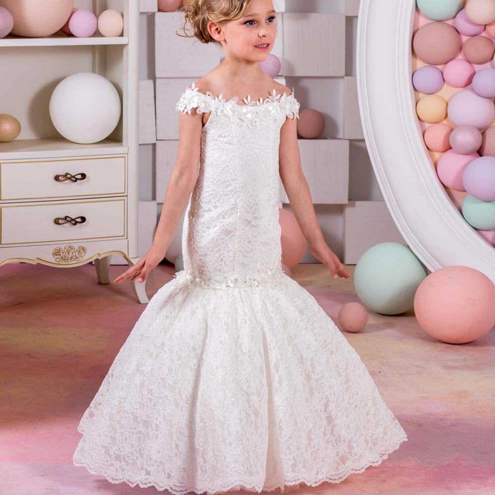 2017 New Tulle Flower Girl Dresses Mermaid Sleeveless Lace Up Appliques Shoulderless Formal Toddler Glitz Pageant Dress Vestidos