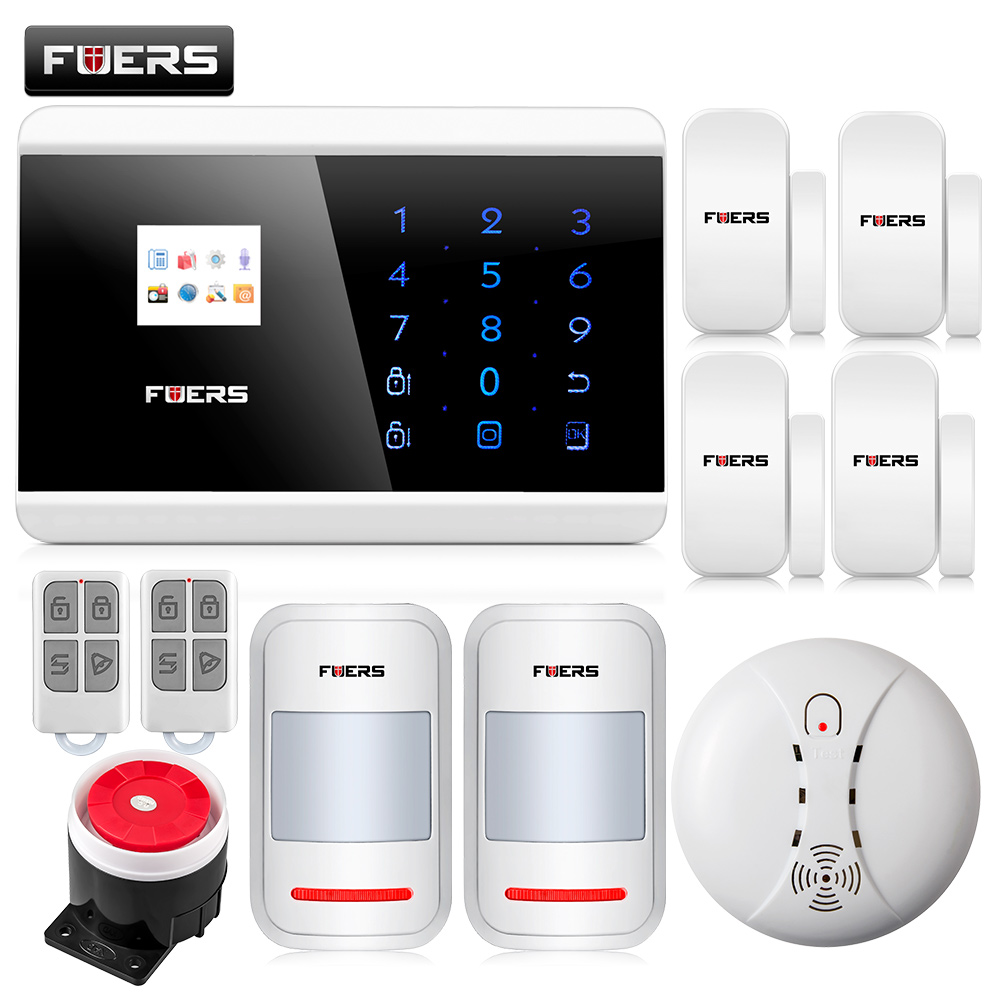 Fuers Quad Band GSM PSTN Burglar Alarm Security System Wireless App Control High-grade Door Sensor Motion Detector Home Alarm wireless motion door sensor detector 3 remote control home security burglar alarm system more stable than gsm alarm system