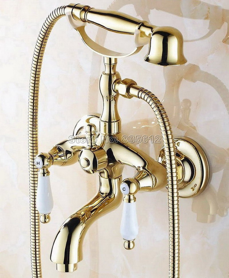 Gold Color Brass Dual Ceramic Handles Bath Tub Mixer Tap with Handheld Shower Head Bathroom Wall Mounted Faucet Wtf083 new bullet head bobbin holder with ceramic tube tip protecting lines brass copper material