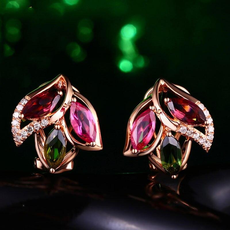 Серебро S925 корейские серьги-гвоздики Rubie 18 карат розовое золото Серьги Серебряные украшения