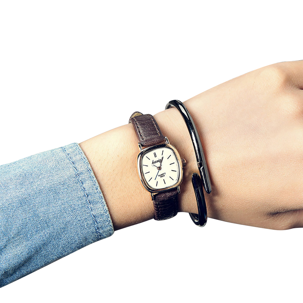 Vintage Square Thin Faux Leather Band Unisex Quartz Analog Couple Wrist Watch