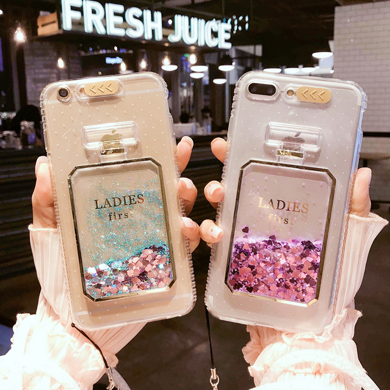 Fashion  cute Bling Liquid quicksand flow sand perfume bottle call flash TPU phone case for iPhone 5 5s se 6 6s 7 8 plus cover