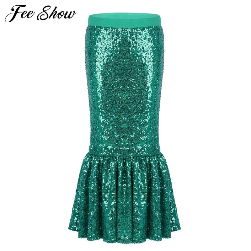 6973130da Las niñas de los niños verde sirena fiesta faldas mermail cola halloween  traje de sirena falda traje de cumpleaños de cola