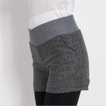 New Autumn Winter Women's Clothing Slim wild Pocket Contrast Color Shorts Female Woolen Crimping Short Pants thick Download D016 4