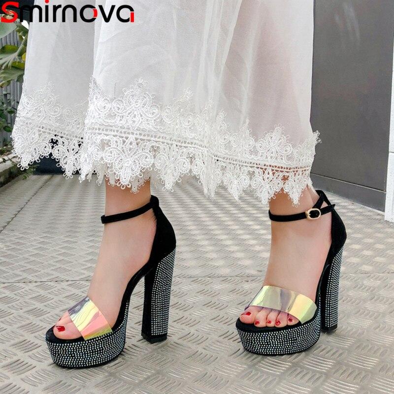 Smirnova large size 34 44 summer shoes woman buckle prom wedding shoes women elegant high heels shoes platform sandals women-in High Heels from Shoes    1