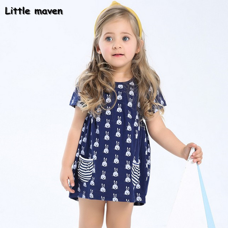 Little maven 2017 new summer autumn baby girls brand clothes kids Cotton rabbit pocket navy blue dress S0001 biker jeans mens brand black skinny ripped zipper full length pants hip hop cotton denim distressed pantalones vaqueros hombre