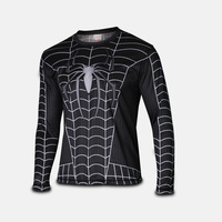 Venom Spider Man jersey cosplay costume t shirt full sleeve tee 2016 man shirts Nice Super Hero jersey costumes