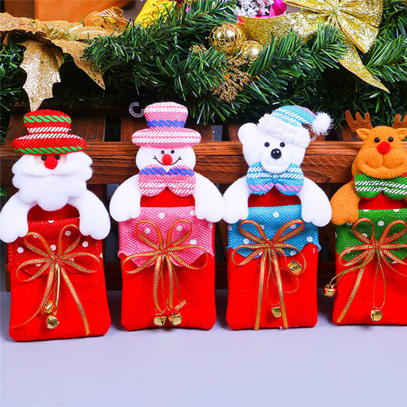 Рождественская Фигурка Санта снеговик медведь Лось куклы с подарочной сумкой Рождественский кулон придверный, с рождественскими мотивами вешалки рождественские новогодние принадлежности