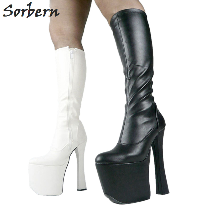 93f4536eab92d Sorbern Sexy 20cm High Heel Thick Chunky Heels 9cm Platform Women Long  Boots Knee-High Woman Shoes For Party