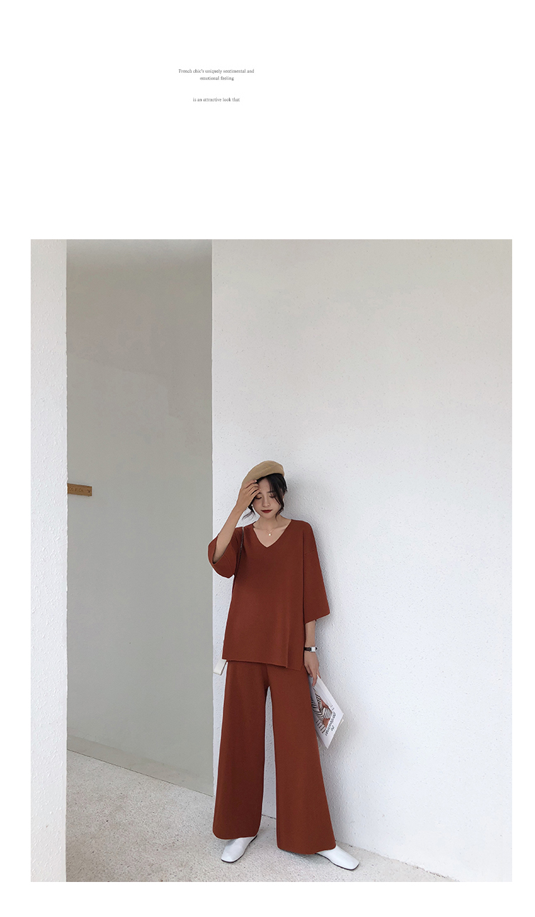 Knitting Female Sweater Pantsuit For Women Two Piece Set Knitted Pullover V-neck Long Sleeve Bandage Top Wide Leg Pants  Suit 11