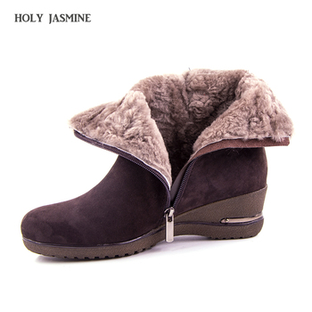 Hot sale 2018 New Winter Sheep Suede Women's Shoes Wool Fur Plush Winter Boots High Quality Genuine Leather Footwear Ankle Boots