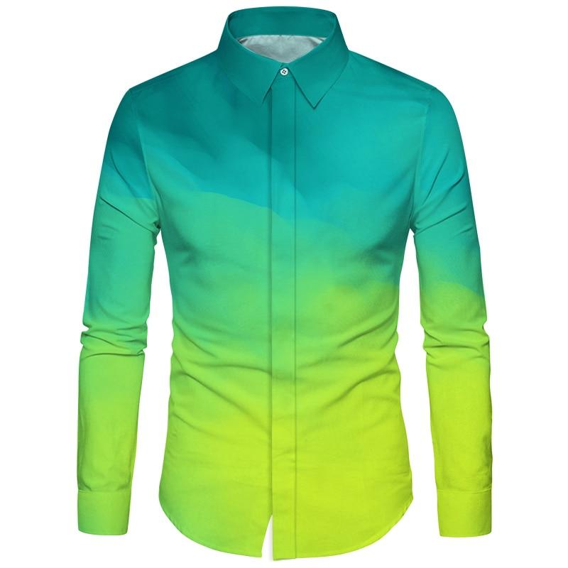 Cloudstyle Popular Design Mens Clothes Shirt 3D Full Printing Camisa Masculina Social Business Slim Shirts Gradient Tops