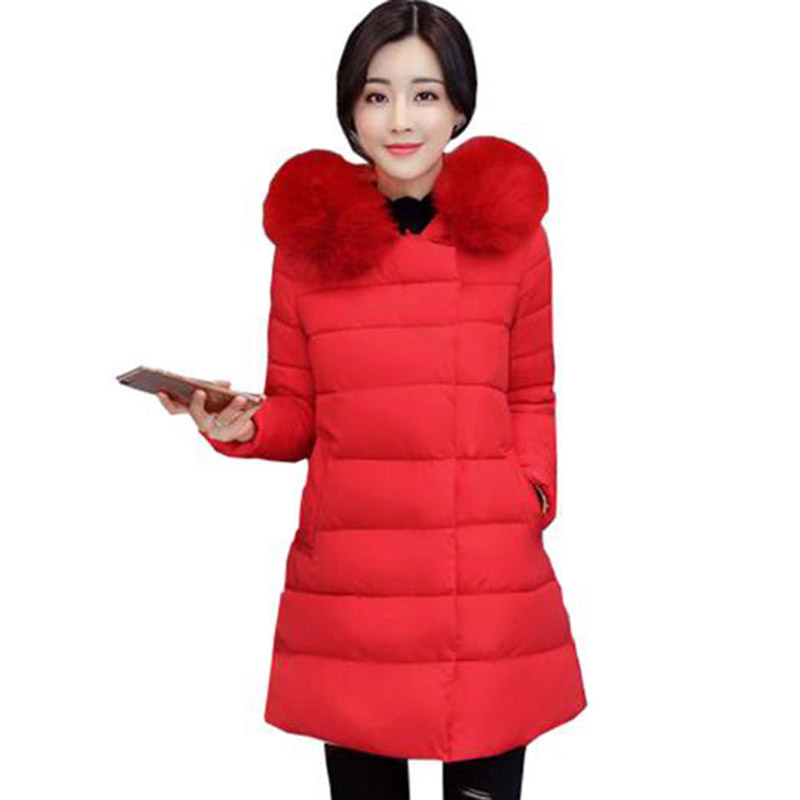 Winter Long Hooded Women Cotton Coat Faux Fur Collar Parkas Outerwear Thick Casual Wadded Plus Size Jacket Cotton Coats PW1012 2017 winter women long hooded cotton coat plus size padded parkas outerwear thick basic jacket casual warm cotton coats pw1003