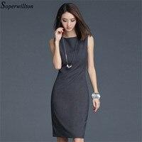 2019 New Summer Office Dress Women Elegant O-neck Sleeveless Knee Length Black Grey Wear to Work Sheath Ladies Dresses #BD725