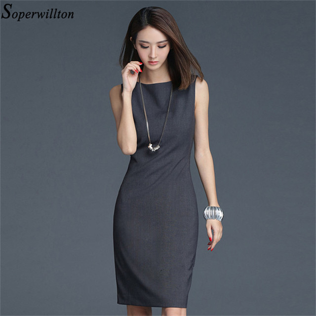 f7d994e32cb4 2019 New Summer Office Dress Women Elegant O-neck Sleeveless Knee Length  Black Grey Wear to Work Sheath Ladies Dresses  BD725