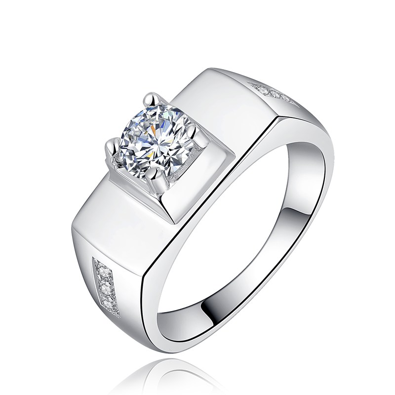 Luxury Top Quality best selling silver plated white gold color noble hot sale zircon crystal MEN wedding rings jewelry