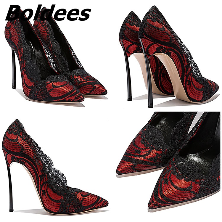 on 10cm Robe Slip 12cm Chaussures De Haute Rouge Boldees Pompes 10cm Bout Talon Mariage Heel Pointu Heel Heel Talons Mince Femmes Club Dentelle Night Sexy Noir CWEBQderxo