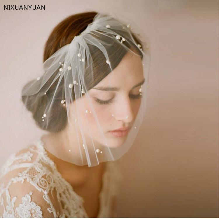 New Arrival Bridal Net Pearls Hats White Hat Veil Bridal Flower Feathers Fascinator Bride Face Veils Wedding bride Hats