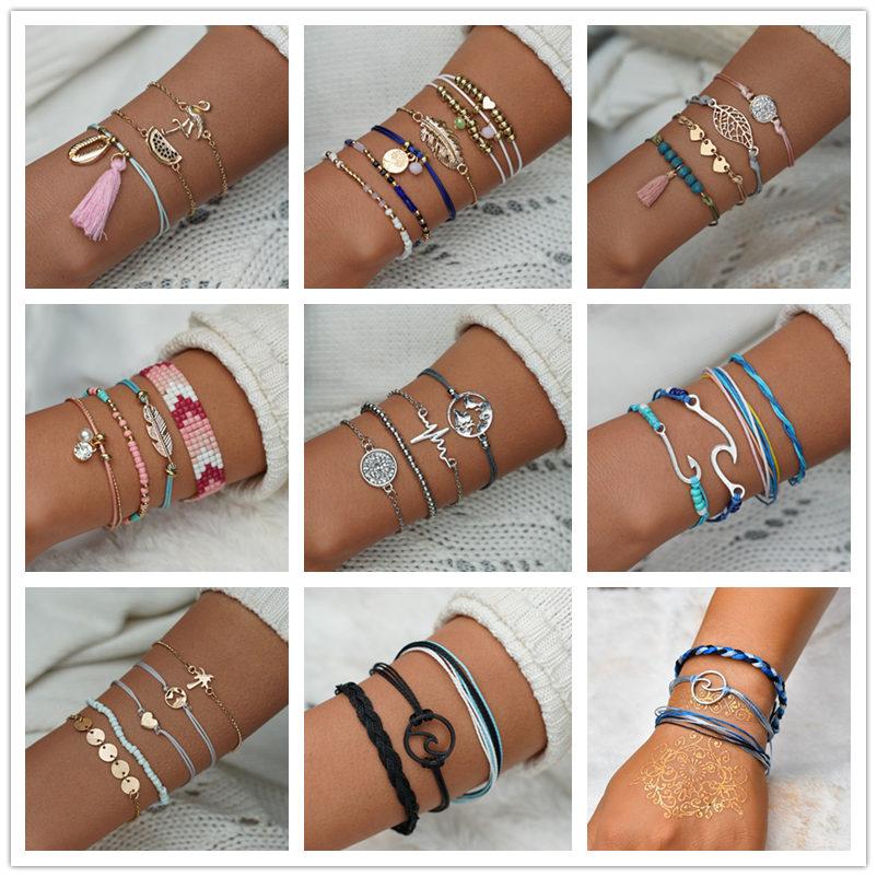 MissCyCy Bohemian Map Heart Wave Charm Bracelets For Women Handmade Chain Beads Strand Bracelets Sets Jewelry Gifts 2018 New