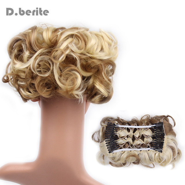 Women Curly Chignon Plastic Comb Hair Extension Hairpiece Wig Clip