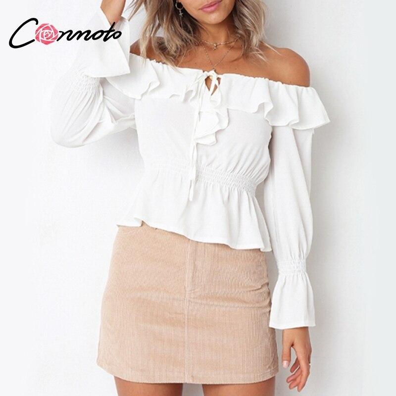 Conmoto Ruffle Chiffon Sexy Off Shoulder   Blouse     Shirt   Women 2018 Fall Peplum White Tops Long Sleeve Elegant Belt OL Ladies Tops