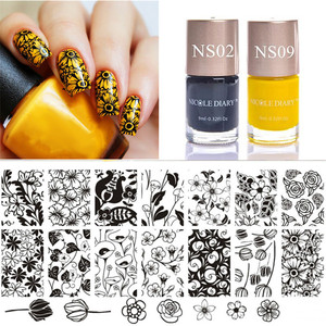 3 Pcs Stamp Set Tulip Stamping Plates Flower Pattern with Color Stamping Polish Yellow Black for Nail Art Template Kit