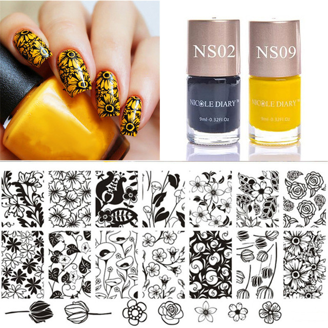 3 Pcs Stamp Set Tulip Stamping Plates Flower Pattern With Color Polish Yellow Black For