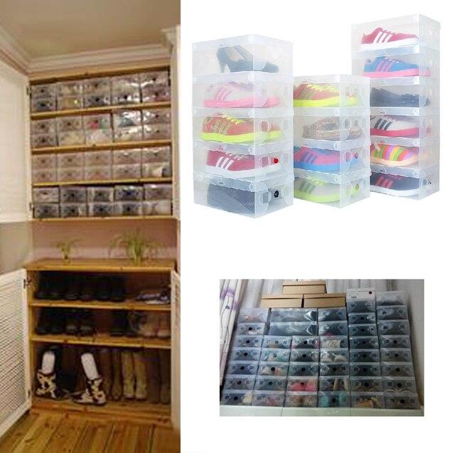 10pcs/lot Foldable Plastic Shoe Storage Case Boxes Bag Stackable Organizer  Shoe Holder Easy DIY