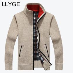 2018 осень зима для мужчин теплый кардиган свитер повседневное Свободные стенд средства ухода за кожей шеи шерсть свитеры для женщи