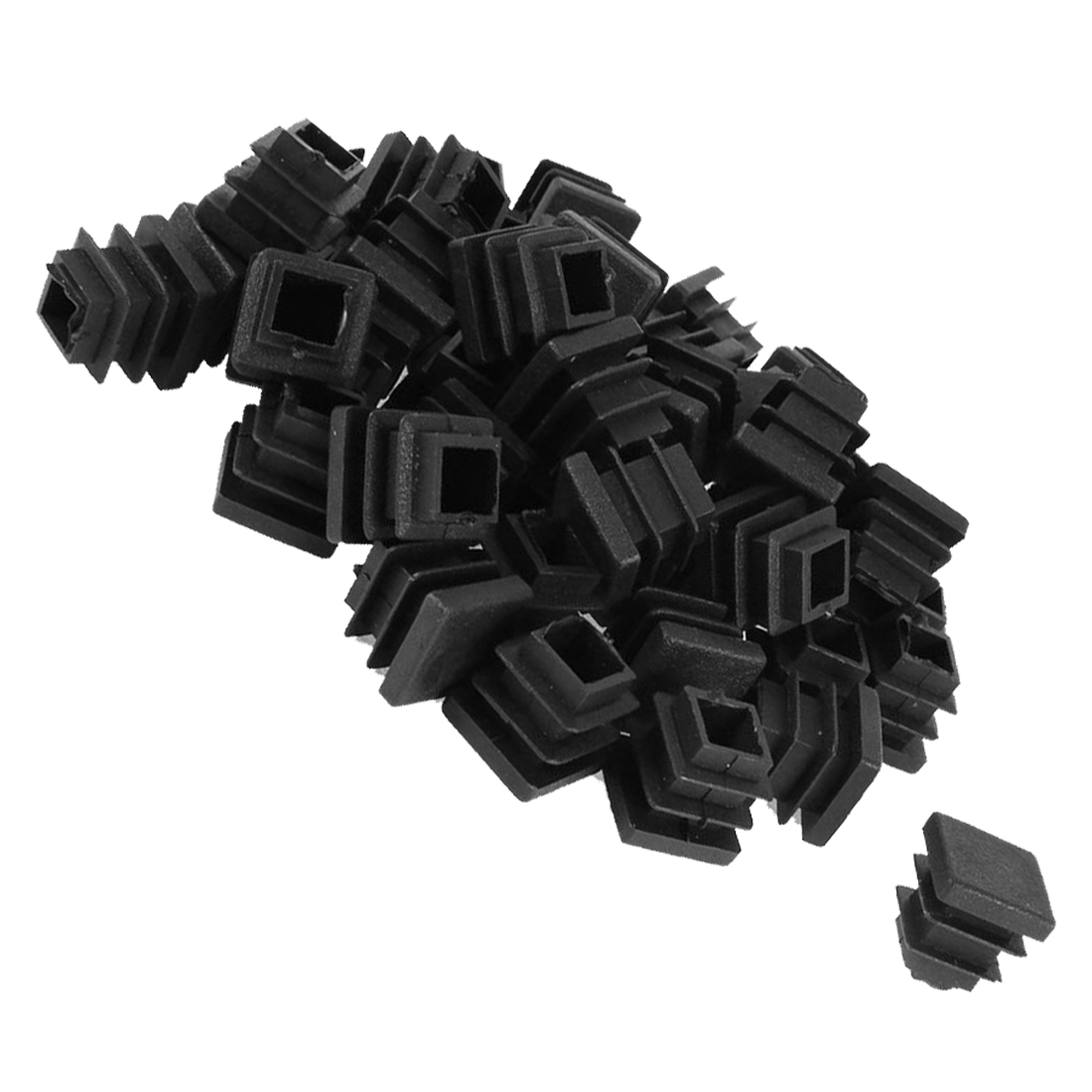 Hot Sale 50 Pcs Plastic Blanking End Cap Square Tube Insert 16mmx16mm Black Blank Tube Plastic Plug Leg Cap Protector Pads Floor
