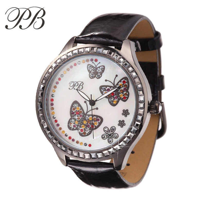 PB брендовые модные часы маленькие женские наручные браслет жемчуг и Кристалл Бабочка водонепроницаемые кожаный ремешок Кварцевые часы-женские Бесплатная доставка ladies watch women