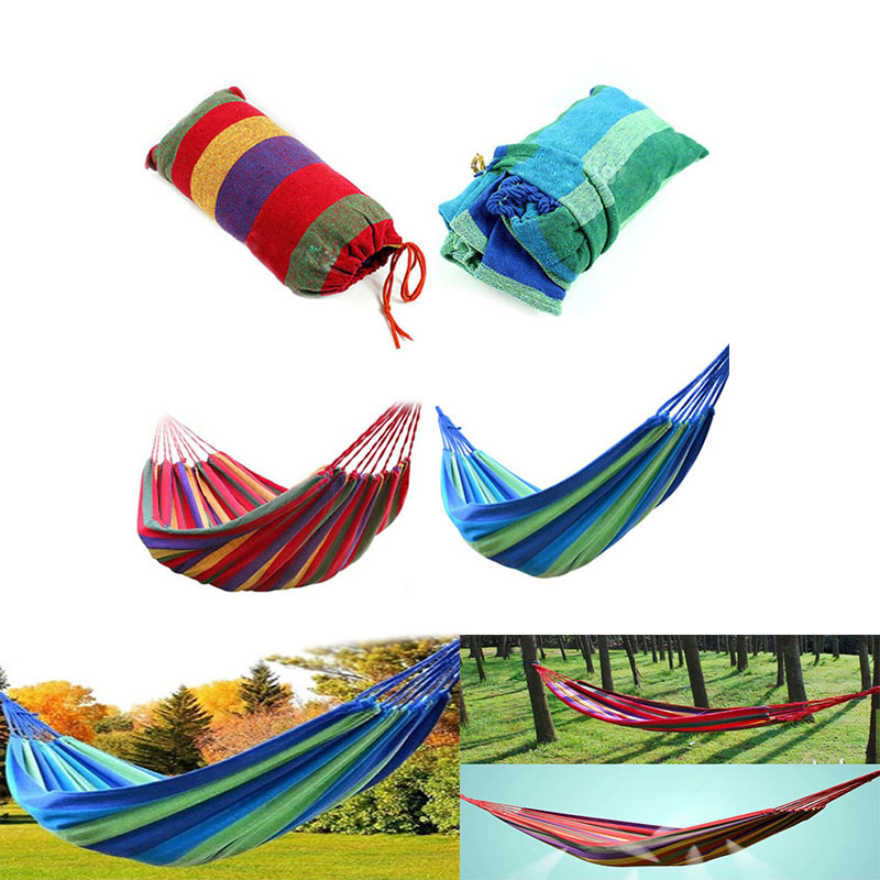 Home Textile 2colors Hammock Striped Portable Outdoor Garden Hammock Hang Bed Travel Camping Swing Hanging Bed Canvas Portable Hammock Harmonious Colors