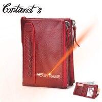 Women Wallet Genuine Leather Solid Short Lady Clutch Bag Double Zipper Coin Pocket Carteira Feminina Purse