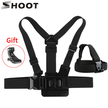 2016 Shoot Gopro Hero Accessories Set Helmet Harness Chest Belt Head Mount Strap  Gopro Hero 2 3+ Sj4000 Black Edition gopro vented head strap mount на шлем для hero hero 3 hero3