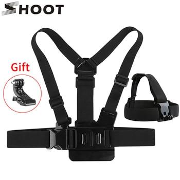 цена на SHOOT Adjustable Harness Chest Strap Head Strap Belt for GoPro Hero 8 7 6 5 Black Xiaomi Yi 4K Sjcam Sj4000 Go Pro 7 8 Accessory