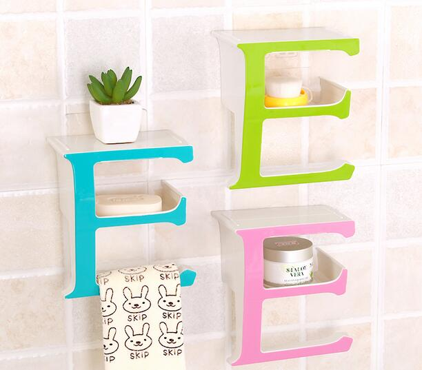 Fashion Soap Box Wall Hanging Shelf Rack Storage Holder E Shape Bathroom Saving Home Bedroom Decoration In Holders Racks