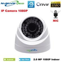 2.0MP Сеть IP cam 1080P HD встроенный микрофон видеонаблюдения Купольная ip-камера безопасности ONVIF День/Ночь Крытый веб-камеры