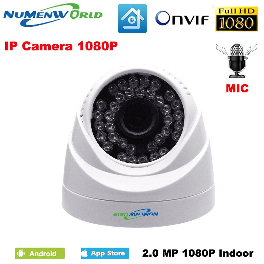 2.0MP réseau IP cam 1080 P HD microphone Intégré CCTV Vidéo surveillance dôme de sécurité IP caméra ONVIF jour/nuit intérieure webcams