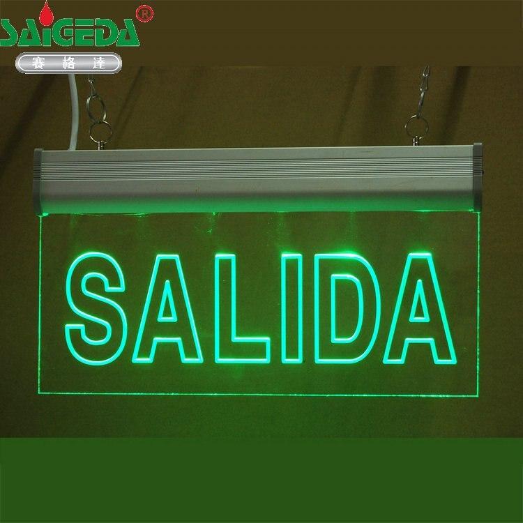 Personalizar padrão Comprador fornece SAÍDA de texto escultura de Acrílico placa de indicação de Seta sinal De Evacuação de emergência de Incêndio LEVOU lâmpada Tag