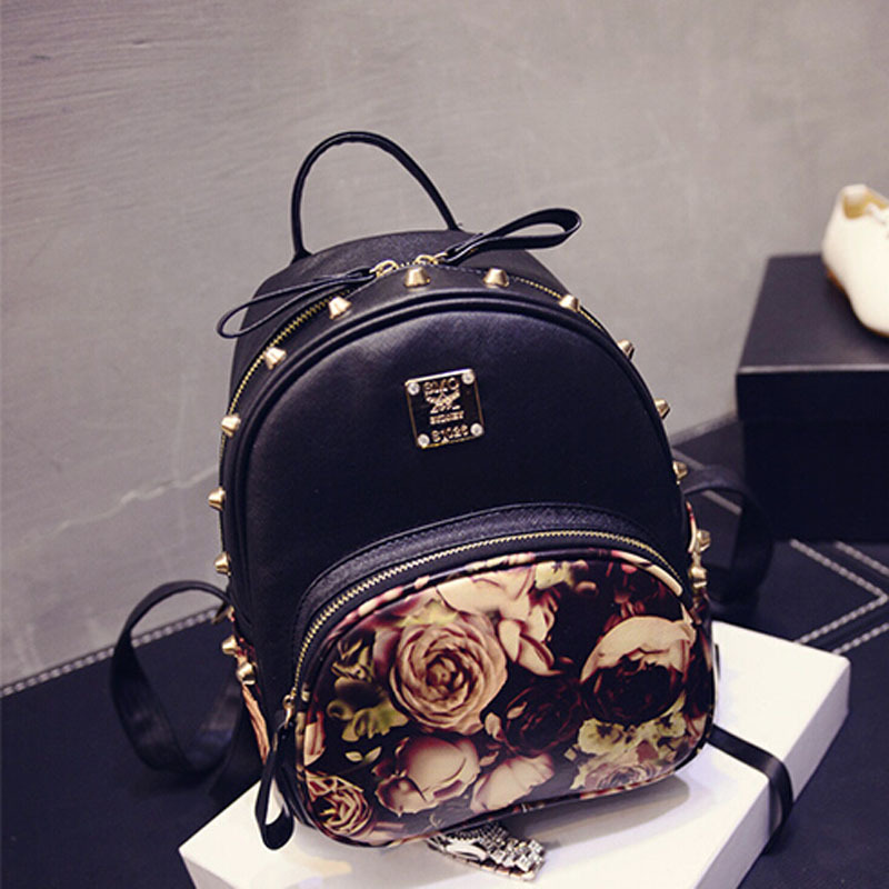 73f82d91a258 New Women Backpack PU Leather Mini Flower Butterfly Printing Backpacks  Korean School Bag For Girl 3 Colors 26 13 27 CM AA720B4-in Backpacks from  Luggage ...