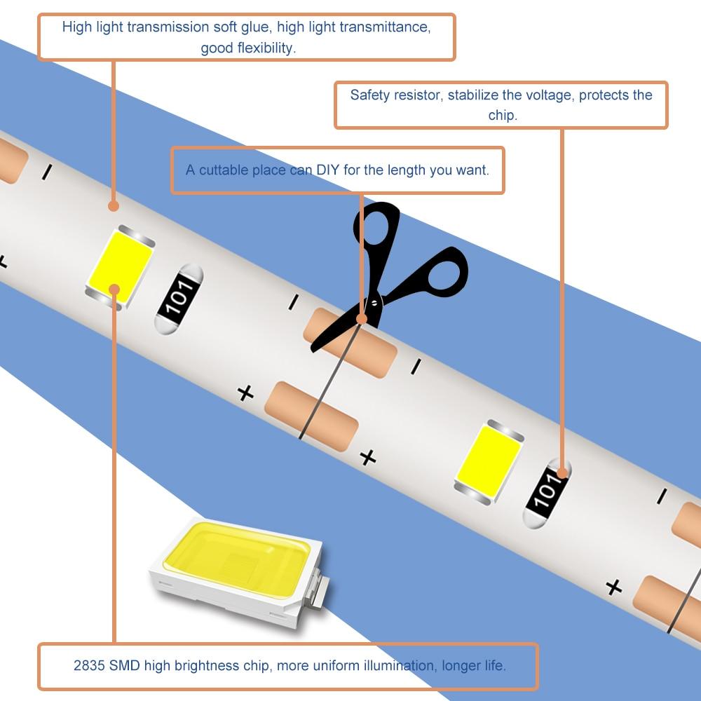 Led Strip Light USB 5V Waterproof Lamp Tape 2835 Ledstrip 5M Flexible Fita Neon Led Lighting Decoration TV Backlight for Bedroom in LED Strips from Lights Lighting