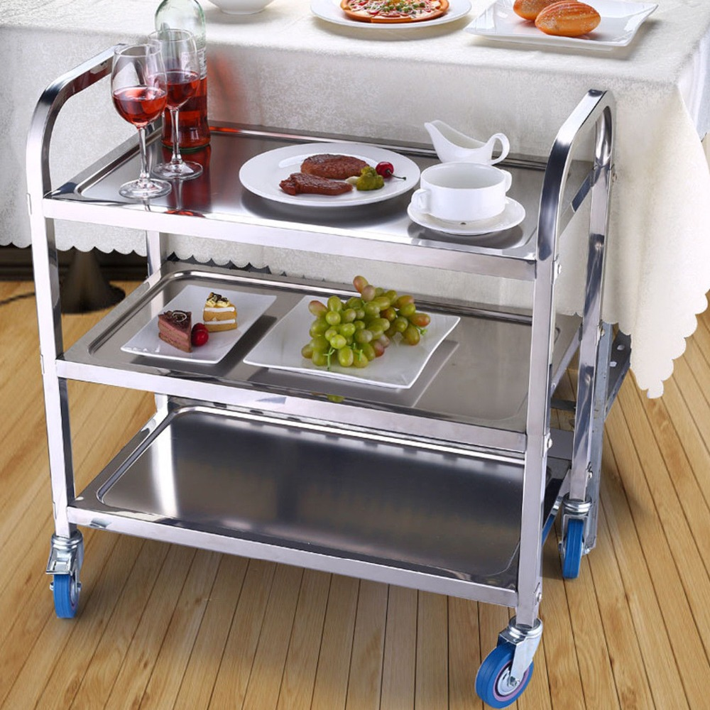 Home Restaurant Kitchen Catering Serving Trolley Cart Stainless Steel 3-Tiers Rolling Trolley Teewagen