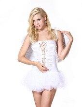 Ensen papel ángel alas elf dress cartoon fancy blanco fantasias disfraces ropa feminina fancy dress de halloween disfraces cosplay