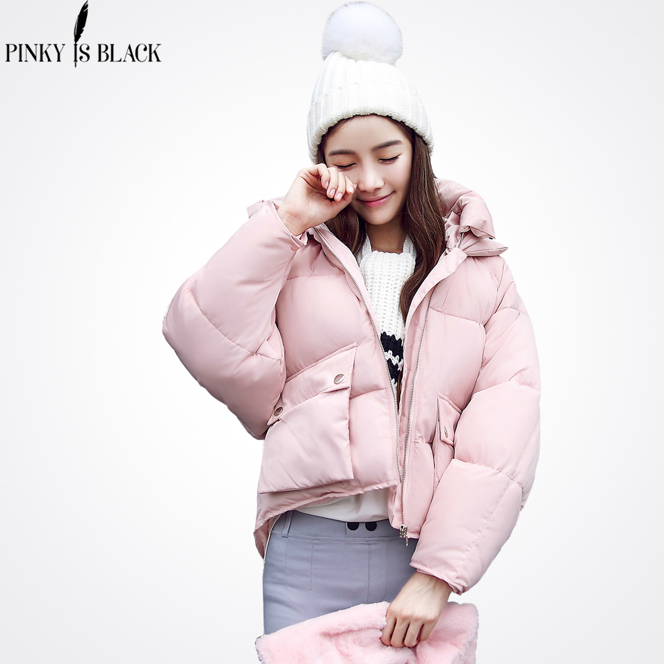 Pinky Is Black 2018 zimní bunda ženy maskovací chléb bunda parkas velké kapsy padající rameno zimní kabát dámské oblečení