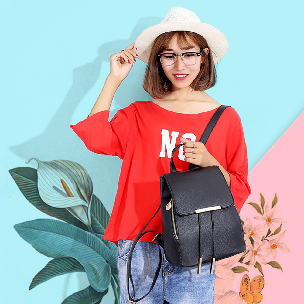 Fashion Women Anti-theft Backpack Solid Color PU Leather Teenager Girls School Shopping Bag Large Capacity Shoulder Bag Backpack