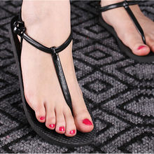 Women T Stripe Slippers Summer Flat Flip Flops T-tied Gladiator Sandals Woman Beach Shoes Sandalias(China)