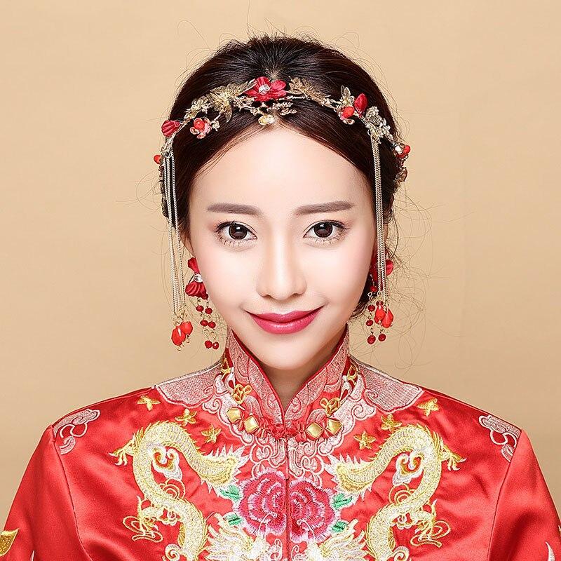 Vintage Chinese Wedding Hair Jewelry Red Beads Long Tassles Hair